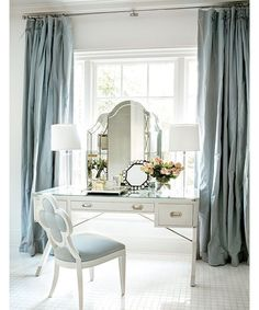 Make sure your vanity is just as stylish as you with these Pinterest-inspired tables that help balance chic modernity and functionality. Pictured: Perch your vanity in front of a window to bring in natural light.