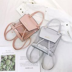 Silver Flap Vegan Leather and PVC Clear Backpacks Transparent Bags Diy Bags Purses, Purses And Handbags, Lv Bags, Clear Backpacks, Hype Bags, Diy Bags Patterns, Handbag Accessories, Women Accessories, Large Diaper Bags