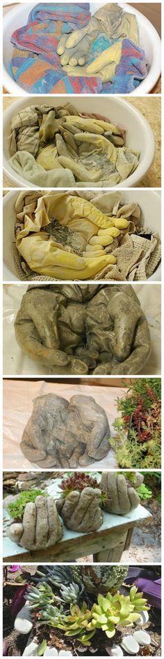 Guantes viejos + cemento = maceteros ♻