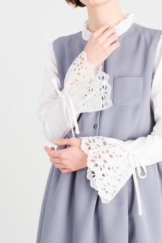 Button Down Sleeveless Pinafore Dress, Blue, Lace Edge Sleeve Blouse, White