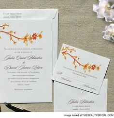 Fall Floral branch invitations Fall Wedding Color Ideas