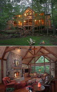 Views inside and out of the vaulted great room in Architectural Designs Rugged House Plan 24111BG. It gives you over 4,900 square feet of living and 4 beds. Designed for a sloping lot like this one in Georgia. Ready when you are. Where do YOU want to build?