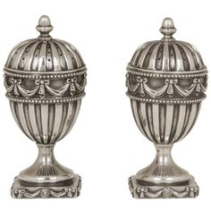 Regency Revival Sterling Silver Salt and Pepper Shakers | From a unique collection of antique and modern sterling silver at https://www.1stdibs.com/furniture/dining-entertaining/sterling-silver/