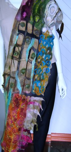 Mosaic Scarf II (The Friendship Scarf), nuno felt By Joni Cornell
