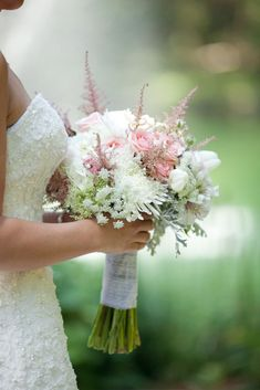Bridal Bouquet - Designed with Peonies, Ranunculus, Roses, Spider Mums, Hydrangea, Tulips, Queen Anne's Lace, Astilbe, Alstromeria, Dusty Miller, and more!