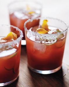 Take the classic Bloody Mary to new heights by swapping out the usual vodka for tequila and cutting the tomato juice with fresh blood-orange juice. Finish with a flaky sea-salt rim, orange twist, slice of lime, and freshly ground black pepper.