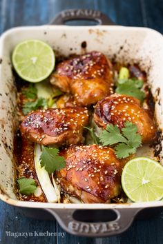 Baked soy and lime marinated chicken Marinated Chicken, Tandoori Chicken, Dessert Recipes, Desserts, Creative Food, Chicken Wings, Chicken Recipes, Sweet Tooth, Food And Drink
