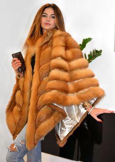 NEW GOLD ROYAL SAGA FOX FUR PONCHO CLASS- SABLE MINK CHINCHILLA COAT SILVER FIRE…