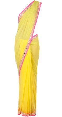 Yellow shaded sari with embellished blouse Arpita Mehta Indian Long Dress, Dress Indian Style, Indian Dresses, Indian Outfits, Indian Clothes, Trendy Sarees, Stylish Sarees, Fancy Sarees, Saree Gown
