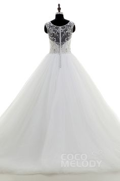 Unique A-Line Illusion Chapel Train Tulle Ivory Sleeveless Zipper with Button Wedding Dress Beading CWXT16002 #cocomelody #wedding #dresses
