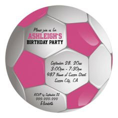 Pink and White Soccer Ball Birthday Party.   $0.80