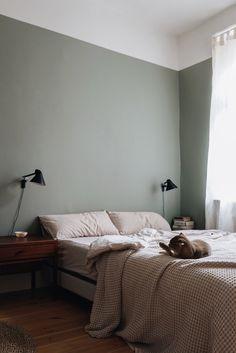 Guest Bedroom Office, Home Bedroom, Bedroom Wall, Bedrooms, Sage Green Bedroom, Green Rooms, Half Painted Walls, Light Green Walls, Girls Bedroom Colors