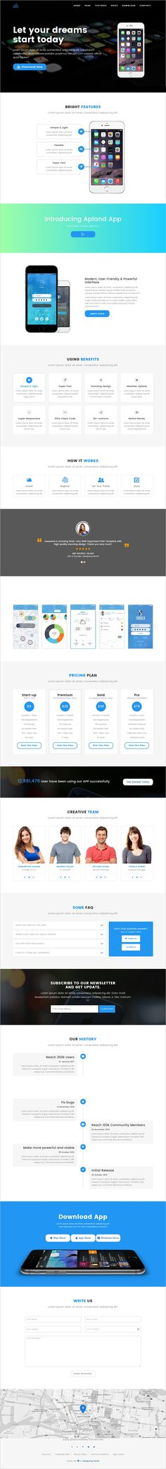 Apland is very beautiful, creative and light 6in1 #bootstrap template for #app landing page websites download now➩ https://wrapbootstrap.com/theme/apland-app-landing-page-template-WB0F61H5J?ref=datasata