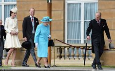 The Duchess and Duke of Cambridge follow the Queen in her vibrant blue coat with the Duke ...