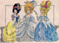"Princesses do the rococo part II, this one's with the ""classic"" princesses Snow White, Cinderella and Aurora."
