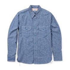 The Real McCoy's U.S. Navy Chambray Shirt - Blue (No Stencil)