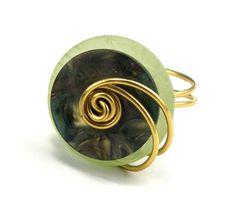 Layered Button Ring Fall Green Fashion Ring by TrinketsNWhatnots  www.trinketsnwhatnots.etsy.com