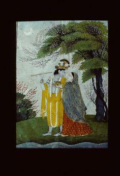 Miniature Painting, Divine Lovers in Moonlight, Kangra style, 1810, Chamba Museum, Himachal Pradesh, India