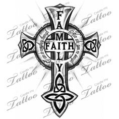 cross custom tattoo | FAMILY - FAITH Celtic Cross #22052 | CreateMyTattoo.com