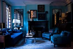 chic blue living room couches