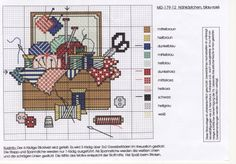 Cross Stitch: Sewing Basket with Tools and Thread