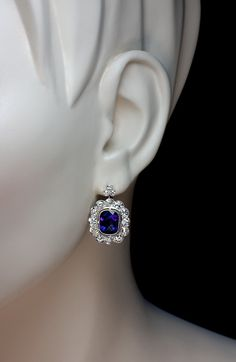 A Vintage Amethyst and Diamond Cluster Earrings circa 1905 Platinum topped gold leverback earrings are set with faceted amethysts surrounded by old Sapphire Jewelry, Amethyst Earrings, Cluster Earrings, Diamond Jewelry, Jewelry Tags, Jewelry Accessories, Fine Jewelry, Jewelry Design, Jewlery