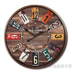 Free shipping fashion vintage mute pocket watch rustic vintage brown wall clock W1030 US $28.50