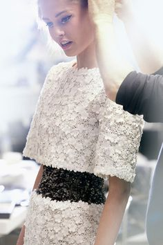 black and white floral #dress :: Spring 2014 Haute Couture collection by #Chanel