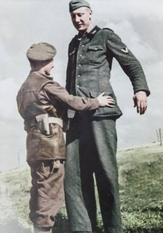 British Corporal takes the surrender of a tall German Wehrmacht soldier, July [[MORE]] Corporal Bob Roberts was overseeing the surrender of dozens of enemy soldiers during the Battle of Normandy when the German loomed into. Canadian Soldiers, German Soldiers Ww2, Canadian Army, British Army, British Soldier, Tiger Ii, Giant People, Battle Of Normandy, Human Oddities