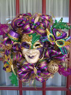 Mardi Gras Purple, Green and Gold Deco Mesh Door Wreath #DecoMesh