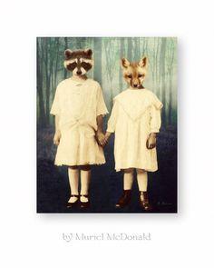 Fox Raccoon Art Print Animal Woodland Mixed by WatchfulCrowArts