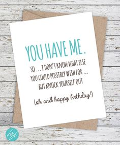 Birthday Card Funny Boyfriend By FlairandPaper Cards For Girlfriend