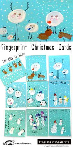 Fingerprint Christmas Cards for Kids to Make