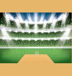 Cricket stadium with spotlights vector Cricket Poster, Cricket Logo, Cricket Bat, Cricket Sport, Bat Vector, Vector Free, Cricket Scoreboard, Cricket Time, Cricket Insect