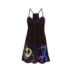 Racerback Jack Skellington Dress ($33) ❤ liked on Polyvore featuring dresses, pajamas, short dresses, shirts, tops, racerback dress, mini dress, disney dresses and racer back dress
