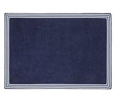 Border Chenille Rug, 7X9', Navy