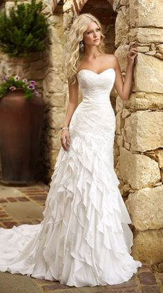 Designer sweetheart wedding dress