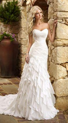 Designer sweetheart wedding dress