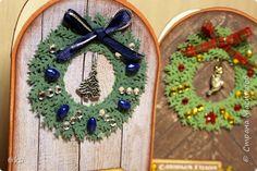 Открытка Скрапбукинг Новый год Рождество Аппликация Ассамбляж Подготовка к Новому году Дверцы Бумага Бусины Ленты Сутаж тесьма шнур фото 8