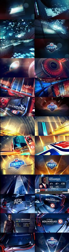NFL DRAFT_ 2014_ CONCEPTS on Behance Sports motion graphics styleframes. Broadcast design stills. Motion inspiration. Tv package