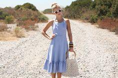 VTG 1970s 70s Periwinkle Blue Halter Wrap Sun Dress S #vintage
