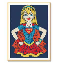 BOGO FREE SUPERGIRL. Girl Power Cross Stitch by MyCrossStitching