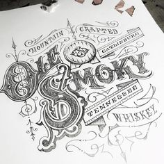 Some details from a pencil sketch. Typography Drawing, Tattoo Lettering Fonts, Typography Letters, Typography Poster, Graphic Design Typography, Graphic Design Art, Lettering Design, Graphic Design Inspiration, Logo Design