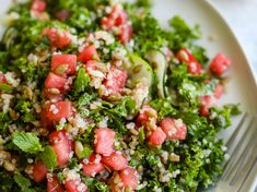 Watermelon Quinoa Kale Salad [Vegan] - One Green PlanetOne Green Planet Mango Smoothie Healthy, Kale Quinoa Salad, Creamy Potato Salad, Chocolate Peanut Butter Cheesecake, Summer Salads, Summer Food, Cooking Sweet Potatoes, Watermelon Salad
