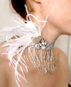 Art Deco Rhinestone Feather Silver Fringe Choker by RoseoftheMire, $62.00