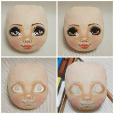 Doll Face Paint, Doll Painting, Handmade Dolls Patterns, Doll Patterns, Doll Crafts, Diy Doll, Paper Dolls, Art Dolls, Doll House People