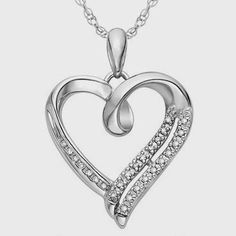 Sterling Silver White Round Diamond Heart Pendant (1/10 Cttw) You can buy for only $49.99 - 67% OFF