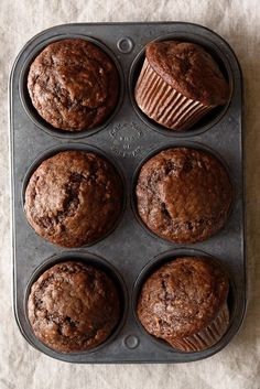 (One Bowl) Dark Chocolate Greek Yogurt Banana Muffins via forkknifeswoon.com