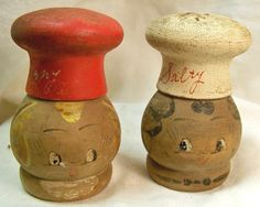 "Wooden Salt and Pepper Shakers ""Salty"" and ""Peppy"" Made in Japan Vitnage 1950"