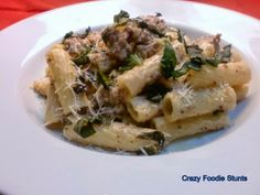 Crazy Foodie Stunts: Rigatoni with Sausage, Basil and Mustard